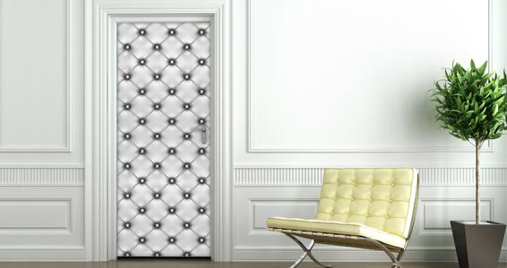Stickers muraux capitonn blanc pour portes sticker d coration murale dez - Stickers porte capitonne ...