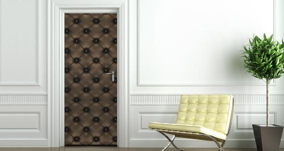 sticker capitonné chocolat pour portes