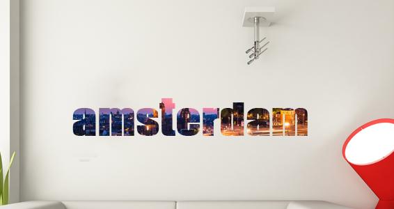 sticker texte voyage amsterdam