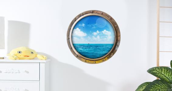 sticker Trompe l'oeil vue sur l'océan