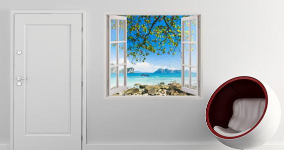 stickers muraux trompe l 39 oeil le exotique sticker d coration murale. Black Bedroom Furniture Sets. Home Design Ideas