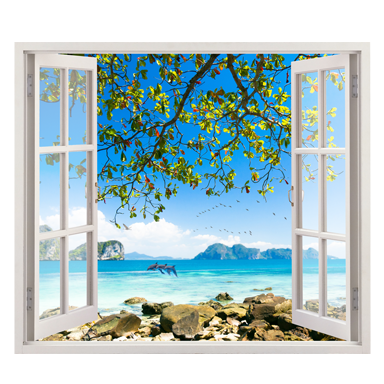 stickers muraux : trompe l'oeil île exotique - sticker décoration