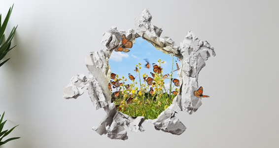 sticker Trompe l'oeil envol de papillons