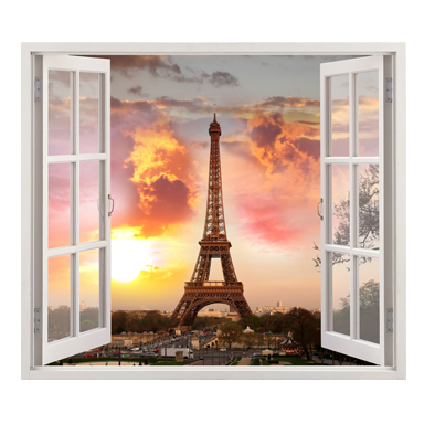 stickers muraux trompe l 39 oeil vue sur la tour eiffel sticker d coration murale. Black Bedroom Furniture Sets. Home Design Ideas
