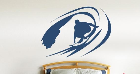 sticker Vague et surfeur