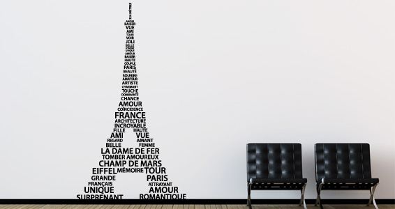 stickers muraux tour eiffel en mots 1 sticker d coration murale. Black Bedroom Furniture Sets. Home Design Ideas